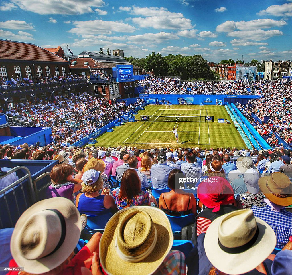 Andy Murray of Great Britain serves to Radek Stepanek of the Czech Republic during their Men's Singles match on day four of the Aegon Championships...