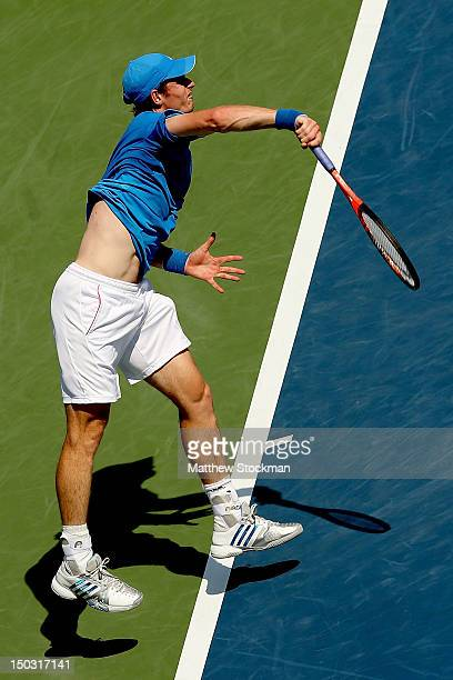 Andy Murray of Great Britain serves to Sam Querrey during the Western Southern Open at the Lindner Family Tennis Center on August 15 2012 in Mason...