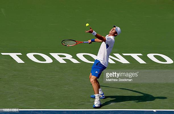 Andy Murray of Great Britain serves to Xavier Malisse of Belgium during the Rogers Cup at the Rexall Centre on August 11 2010 in Toronto Canada