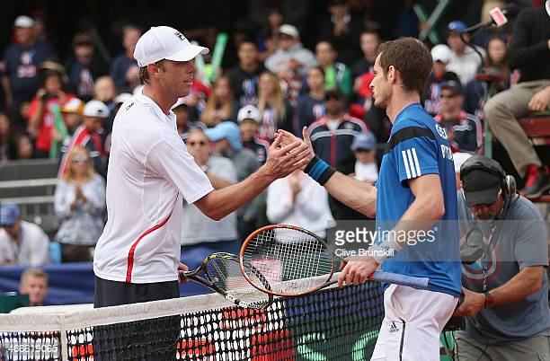 Andy Murray of Great Britain shakes hands at the net after his four set victory against Sam Querrey of the United States during day three of the...