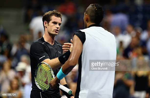 Andy Murray of Great Britain shakes hands at the net after his four set victory during his first round match against Nick Kyrgios of Australia on Day...