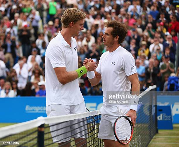 Andy Murray of Great Britain shakes hands with Kevin Anderson of South Africa after their men's singles final match during day seven of the Aegon...