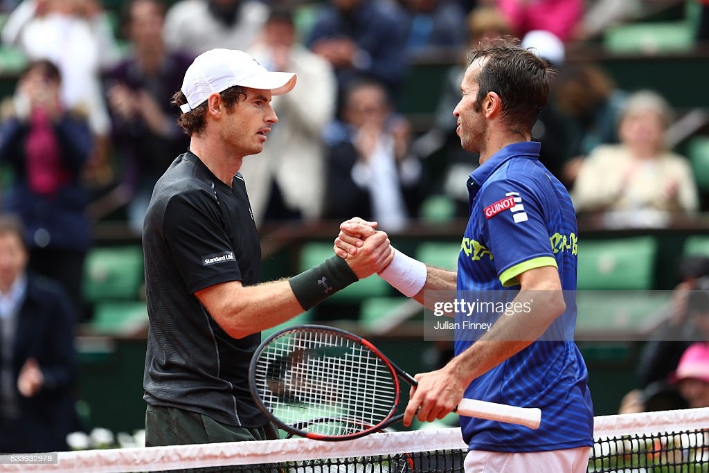<a gi-track='captionPersonalityLinkClicked' href=/galleries/search?phrase=Andy+Murray+-+Tennis+Player&family=editorial&specificpeople=200668 ng-click='$event.stopPropagation()'>Andy Murray</a> of Great Britain shakes hands with <a gi-track='captionPersonalityLinkClicked' href=/galleries/search?phrase=Radek+Stepanek&family=editorial&specificpeople=193842 ng-click='$event.stopPropagation()'>Radek Stepanek</a> of the Czech Republic following the Men's Singles first round match on day three of the 2016 French Open at Roland Garros on May 24, 2016 in Paris, France.