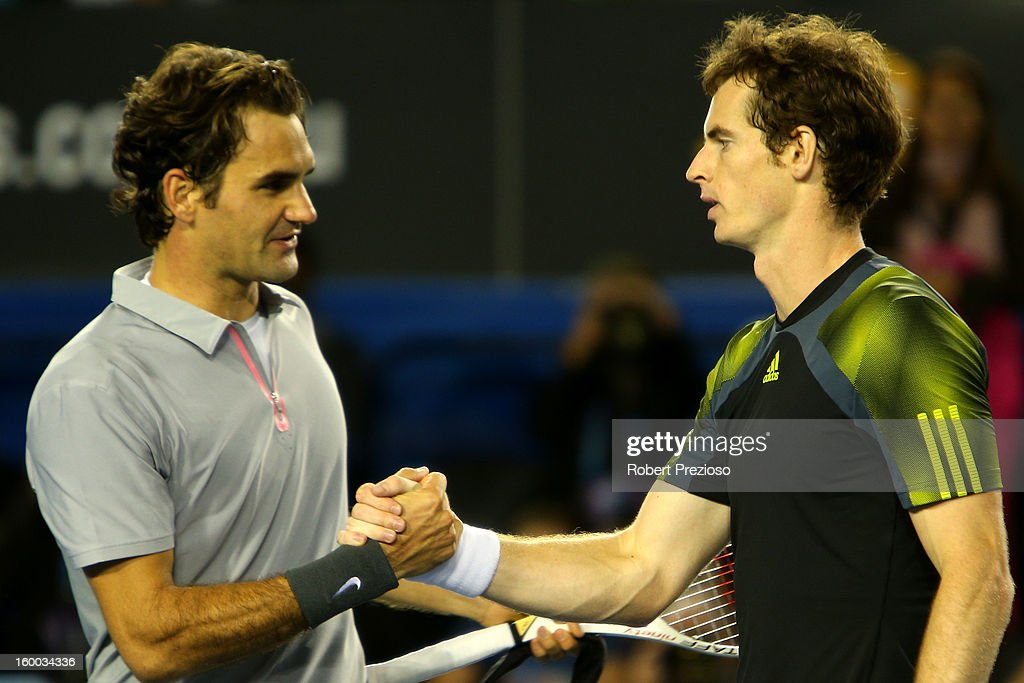 <a gi-track='captionPersonalityLinkClicked' href=/galleries/search?phrase=Andy+Murray+-+Tennisser&family=editorial&specificpeople=200668 ng-click='$event.stopPropagation()'>Andy Murray</a> of Great Britain shakes hands with <a gi-track='captionPersonalityLinkClicked' href=/galleries/search?phrase=Roger+Federer&family=editorial&specificpeople=157480 ng-click='$event.stopPropagation()'>Roger Federer</a> of Switzerland after Murray won their semifinal match during day twelve of the 2013 Australian Open at Melbourne Park on January 25, 2013 in Melbourne, Australia.