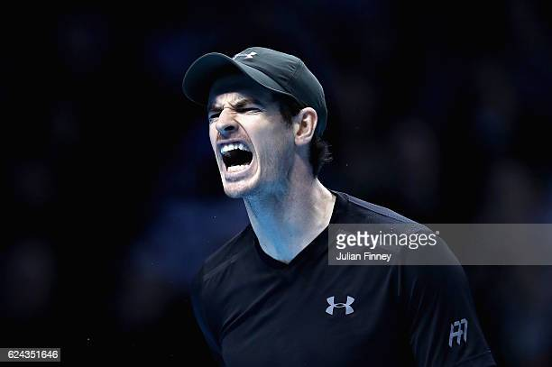 Andy Murray of Great Britain shouts on court during his men's singles semi final against Milos Raonic of Canada on day seven of the ATP World Tour...