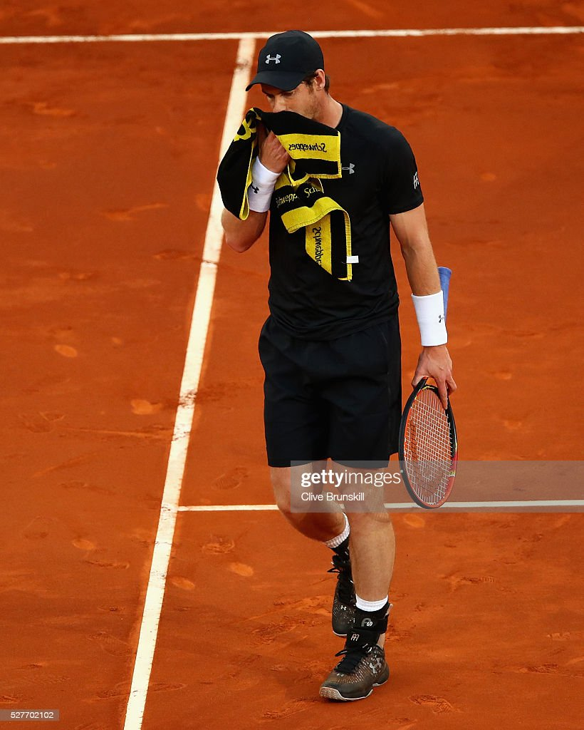 <a gi-track='captionPersonalityLinkClicked' href=/galleries/search?phrase=Andy+Murray+-+Tennis+Player&family=editorial&specificpeople=200668 ng-click='$event.stopPropagation()'>Andy Murray</a> of Great Britain shows his dejection against Radek Stepanek of the Czech Republic in their second round match during day four of the Mutua Madrid Open tennis tournament at the Caja Magica on May 03, 2016 in Madrid,Spain.