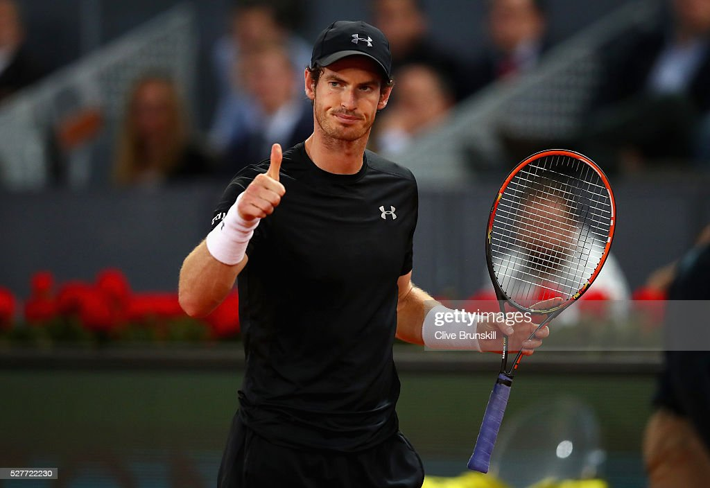 Andy Murray of Great Britain shows his emotion during his three set victory against Radek Stepanek of the Czech Republic in their second round match during day four of the Mutua Madrid Open tennis tournament at the Caja Magica on May 03, 2016 in Madrid,Spain.