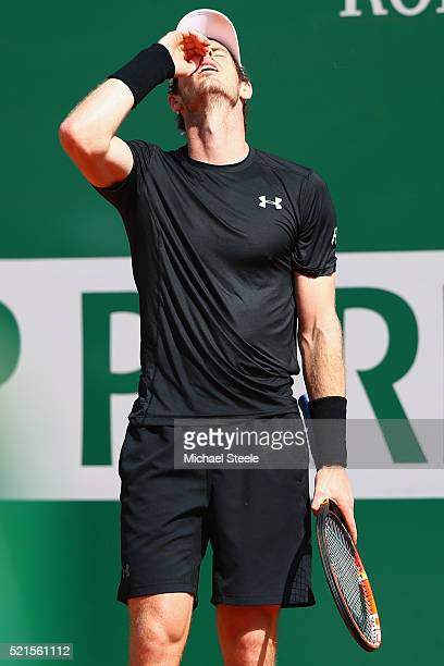 Andy Murray of Great Britain shows his frustration as he heads to defeat 624626 in his semifinal match against Rafael Nadal of Spain during the semi...