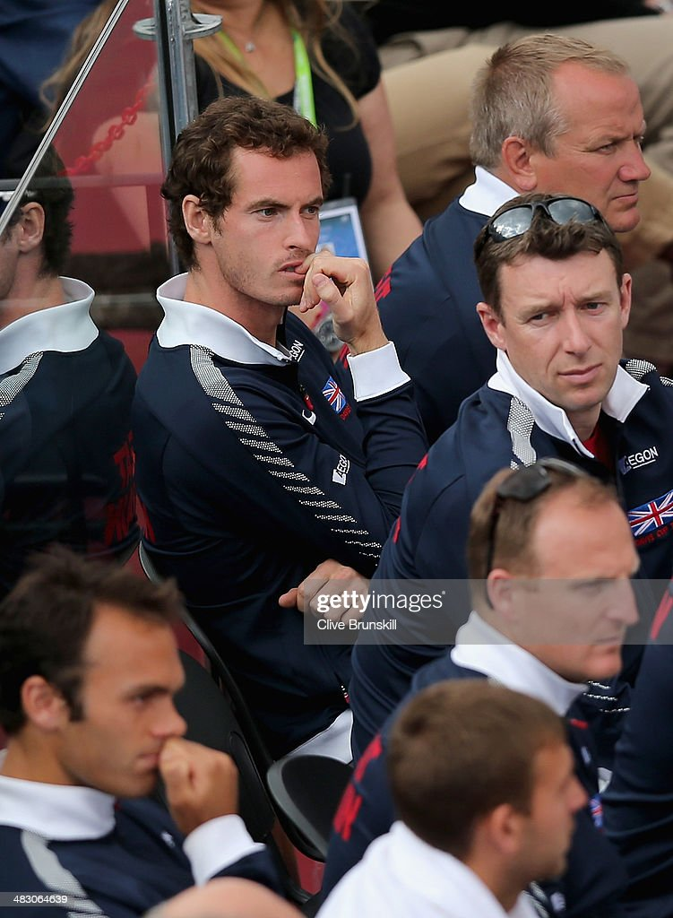 Andy Murray of Great Britain shows his frustration as he watches team mate James Ward during the fifth and decisive rubber against Andreas Seppi of Italy during day three of the Davis Cup World Group Quarter Final match between Italy and Great Britain at Tennis Club Napoli on April 6, 2014 in Naples, Italy.