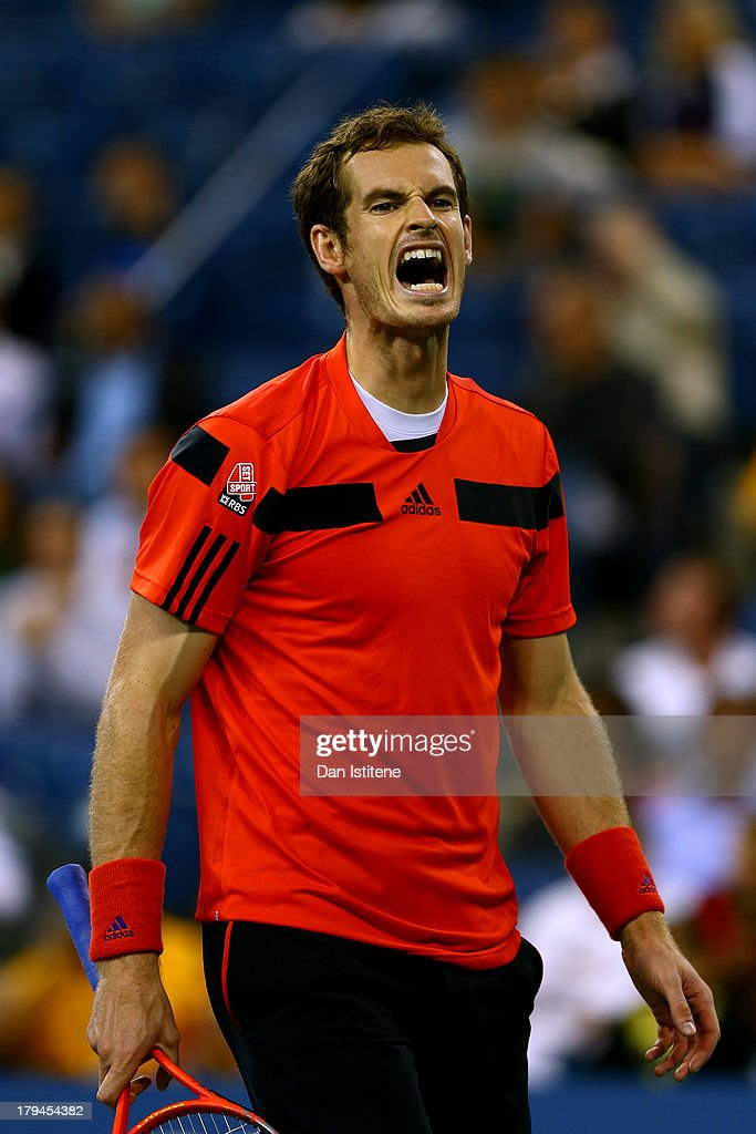 Andy Murray of Great Britain shows his frustration during his men's singles fourth round match against Denis Istomin of Uzbekistan on Day Nine of the 2013 US Open at USTA Billie Jean King National Tennis Center on September 3, 2013 in the Flushing neighborhood of the Queens borough of New York City.