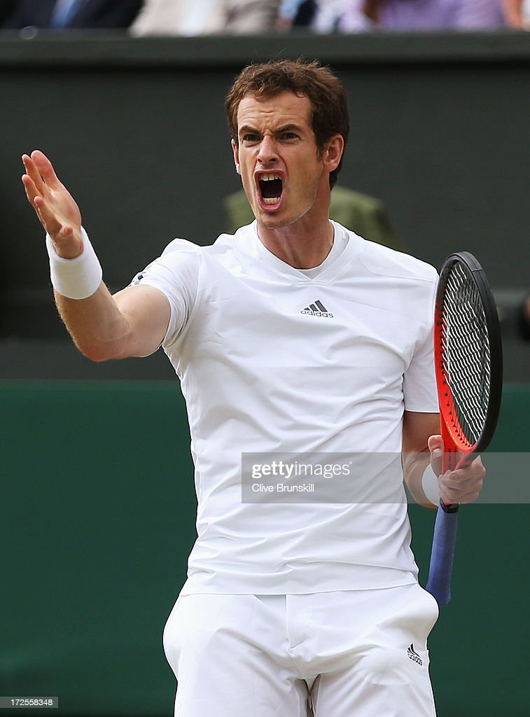 Andy Murray of Great Britain shows his frustration during the Gentlemen's Singles quarterfinal match against Fernando Verdasco of Spain on day nine...