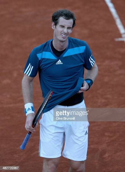 Andy Murray of Great Britain shows his frustrations against Andreas Seppi of Italy during day one of the Davis Cup World Group Quarter Final match...