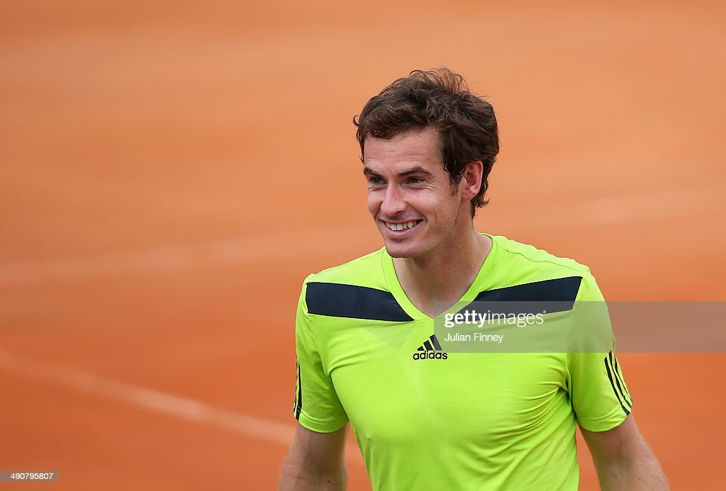 Andy Murray of Great Britain smiles as 'happy birthday' rings round the stadium after he defeated Jurgen Melzer of Austria during day five of the Internazionali BNL d'Italia tennis 2014 on May 15, 2014 in Rome, Italy.