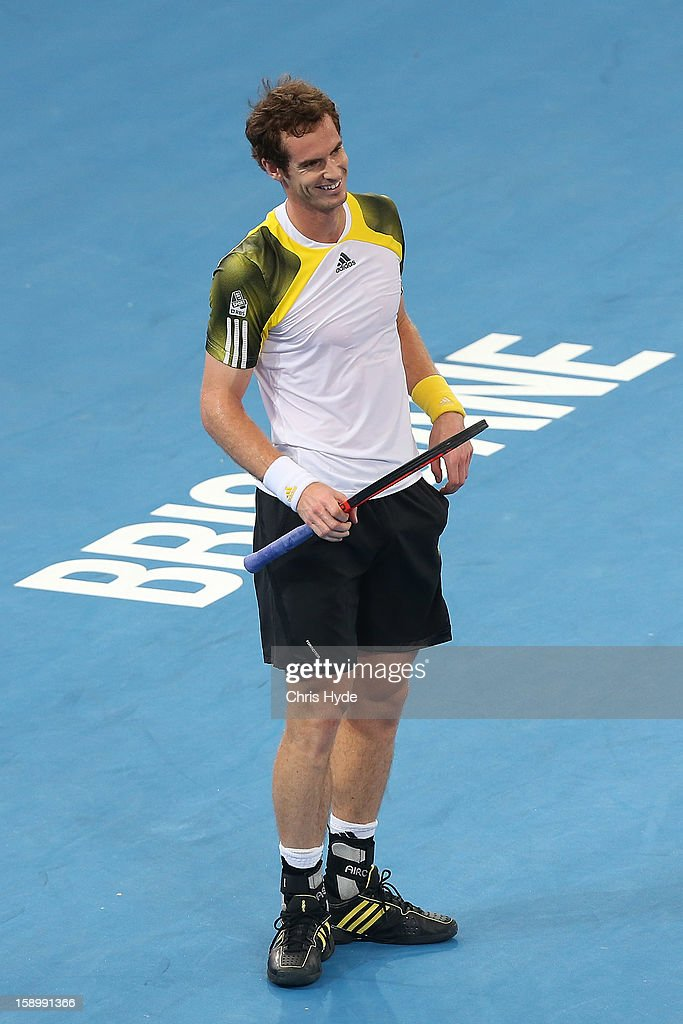 Andy Murray of Great Britain smiles during his semi final match against Kei Nishikori of Japan during day seven of the Brisbane International at Pat Rafter Arena on January 5, 2013 in Brisbane, Australia.