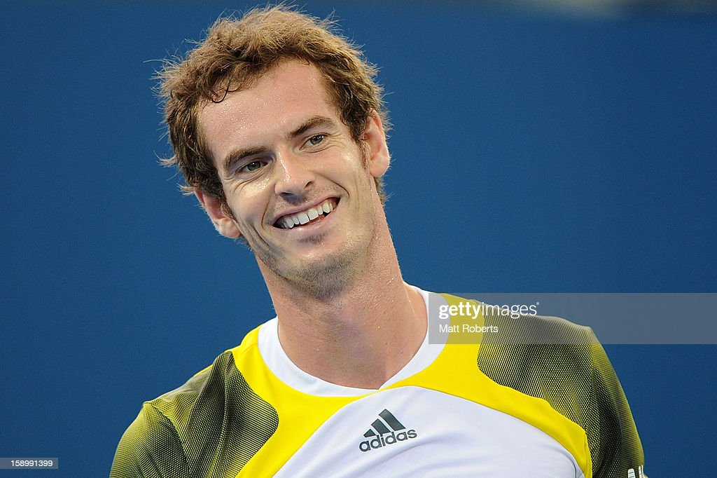 Andy Murray of Great Britain smiles during his semi final match against Kei Nishikori of Japan on day seven of the Brisbane International at Pat Rafter Arena on January 5, 2013 in Brisbane, Australia.
