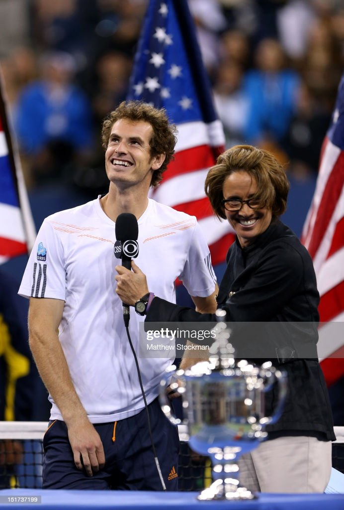 Andy Murray of Great Britain smiles towards his box during an interview with Mary Carillo before receiving the championship trophy after defeating Novak Djokovic of Serbia in the men's singles final match on Day Fifteen of the 2012 US Open at USTA Billie Jean King National Tennis Center on September 10, 2012 in the Flushing neighborhood of the Queens borough of New York City. Murray defeated Djokovic 7-6, 7-5, 2-6, 3-6, 6-2.