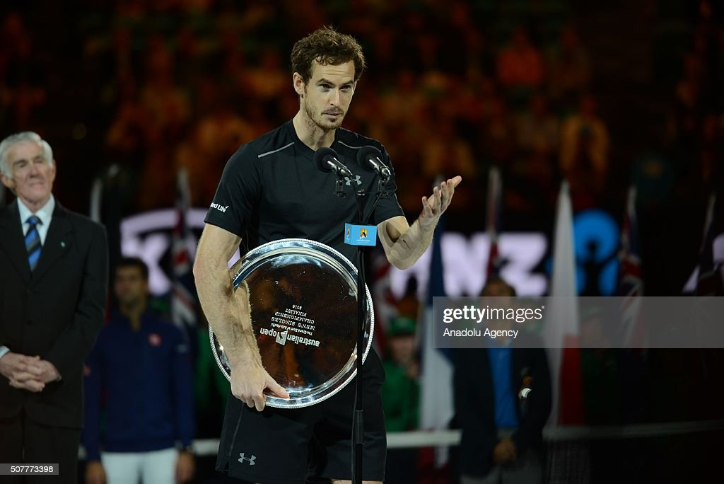 Andy Murray of England speaks at the end of the Men's Singles Final match during day 14 of the 2016 Australian Open at Melbourne Park on January 31, 2016 in Melbourne, Australia.