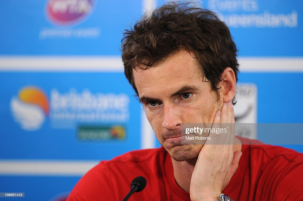 Andy Murray of Great Britain speaks during a press conference after Kei Nishikori of Japan retired injured in their semi final match on day seven of the Brisbane International at Pat Rafter Arena on January 5, 2013 in Brisbane, Australia.
