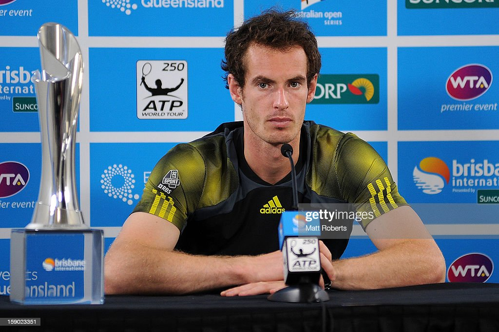 Andy Murray of Great Britain speaks during a press conference after winning his final match against Grigor Dimitrov of Bulgaria on day eight of the Brisbane International at Pat Rafter Arena on January 6, 2013 in Brisbane, Australia.