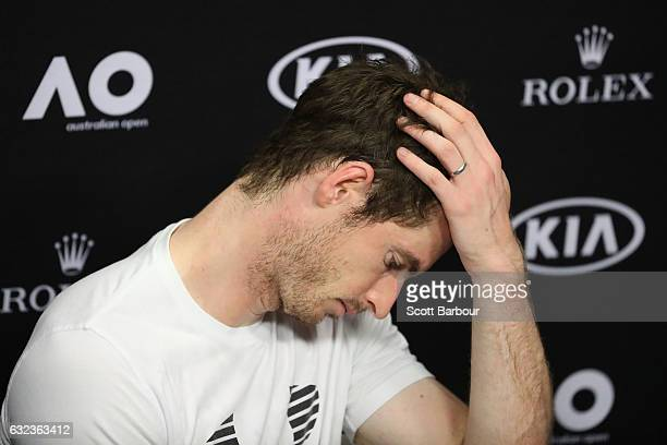 Andy Murray of Great Britain speaks to the media following his fourth round match loss to Mischa Zverev of Germany on day seven of the 2017...
