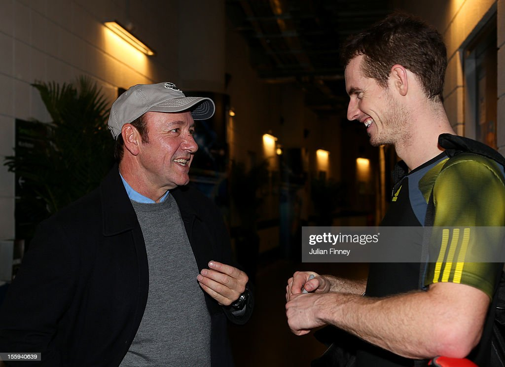 Andy Murray of Great Britain speaks with actor <a gi-track='captionPersonalityLinkClicked' href=/galleries/search?phrase=Kevin+Spacey&family=editorial&specificpeople=202091 ng-click='$event.stopPropagation()'>Kevin Spacey</a> after his men's singles match against Jo-Wilfried Tsonga of France on day five of the ATP World Tour Finals at O2 Arena on November 9, 2012 in London, England.