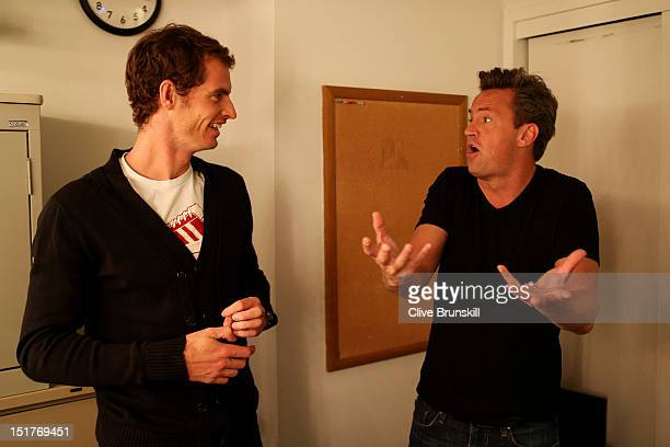Andy Murray of Great Britain speaks with actor Matthew Perry backstage on the NBC Today Show during his New York City trophy tour after his victory...