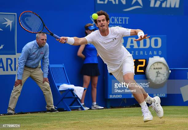 Andy Murray of Great Britain stretches for a forehand in his men's singles final match against Kevin Anderson of South Africa during day seven of the...