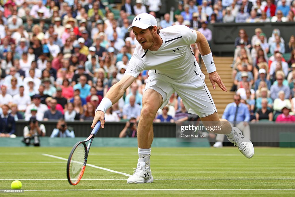 <a gi-track='captionPersonalityLinkClicked' href=/galleries/search?phrase=Andy+Murray+-+Tennis+Player&family=editorial&specificpeople=200668 ng-click='$event.stopPropagation()'>Andy Murray</a> of Great Britain stretches to attempt a backhand during the Men's Singles first round match against Liam Broady of Great Britain on day two of the Wimbledon Lawn Tennis Championships at the All England Lawn Tennis and Croquet Club on June 28, 2016 in London, England.