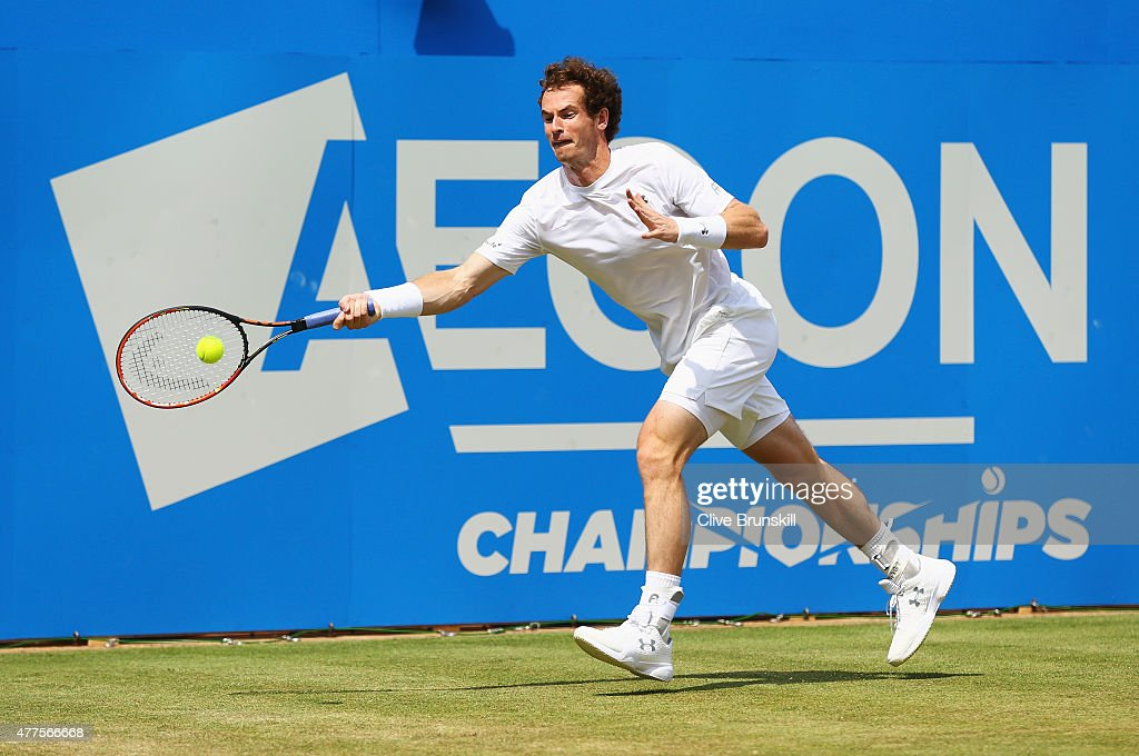 Andy Murray of Great Britain stretches to play a forehand in his men's singles second round match against Fernando Verdasco of Spain during day four of the Aegon Championships at Queen's Club on June 18, 2015 in London, England.
