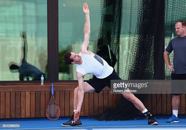 Andy Murray of Great Britain takes part on a training session at Crown Entertainment Complex on January 11 2016 in Melbourne Australia
