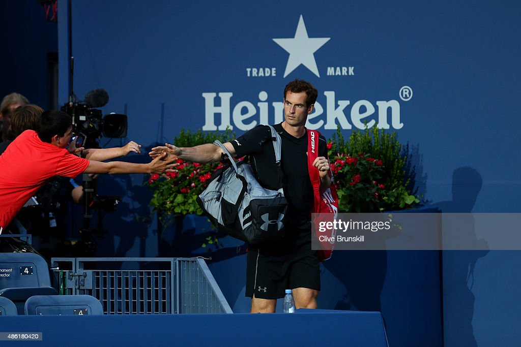 Andy Murray of Great Britain takes the court before playing against Nick Kyrgios of Australia during their Men's Singles First Round match on Day Two...