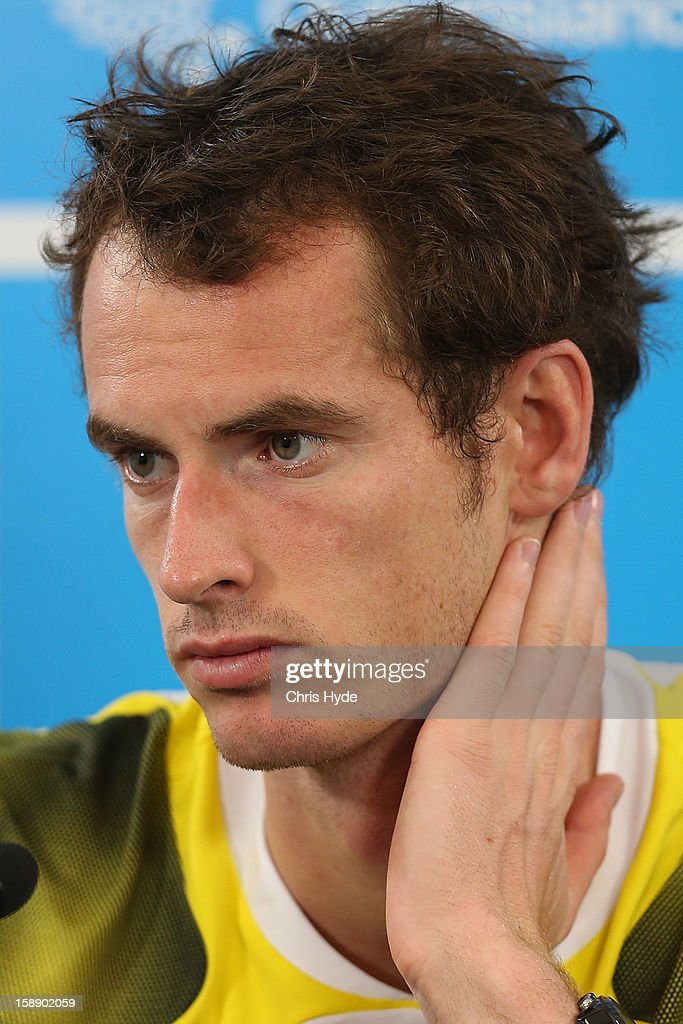 Andy Murray of Great Britain talks during a media conference after winning his match against John Millman of Australia on day five of the Brisbane International at Pat Rafter Arena on January 3, 2013 in Brisbane, Australia.