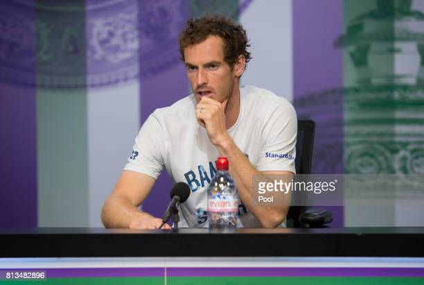 Andy Murray of Great Britain talks during a press conference on day nine of the Wimbledon Lawn Tennis Championships at the All England Lawn Tennis...