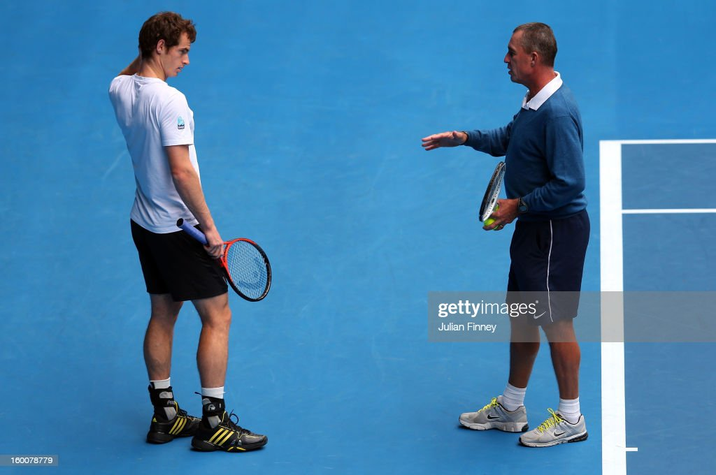 Andy Murray of Great Britain talks to his coach Ivan Lendl in a practice session during day thirteen of the 2013 Australian Open at Melbourne Park on January 26, 2013 in Melbourne, Australia.