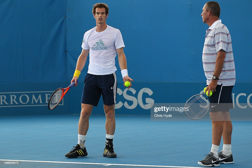 Andy Murray of Great Britain talks to his coach Ivan Lendl on day six of the Brisbane International at Pat Rafter Arena on January 4, 2013 in Brisbane, Australia.