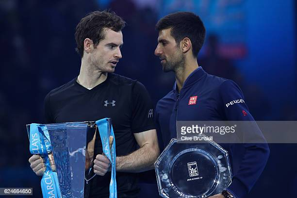 Andy Murray of Great Britain talks to Novak Djokovic of Serbia following his victory during the Singles Final at the Barclays ATP World Tour Finals...