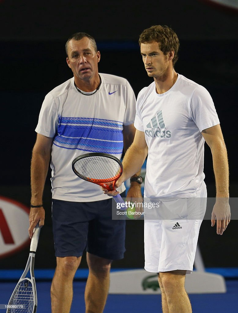Andy Murray of Great Britain talks with his coach Ivan Lendl during a practice session ahead of the 2013 Australian Open at Melbourne Park on January 13, 2013 in Melbourne, Australia.