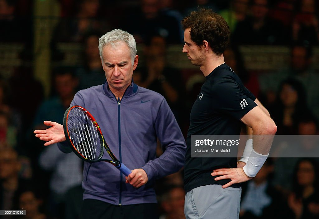 <a gi-track='captionPersonalityLinkClicked' href=/galleries/search?phrase=Andy+Murray+-+Tennis+Player&family=editorial&specificpeople=200668 ng-click='$event.stopPropagation()'>Andy Murray</a> of Great Britain (R) talks with <a gi-track='captionPersonalityLinkClicked' href=/galleries/search?phrase=John+McEnroe&family=editorial&specificpeople=159411 ng-click='$event.stopPropagation()'>John McEnroe</a> of the USA (L) during the Tie Break Tens on day four of the Statoil Masters Tennis at the Royal Albert Hall on December 5, 2015 in London, England.