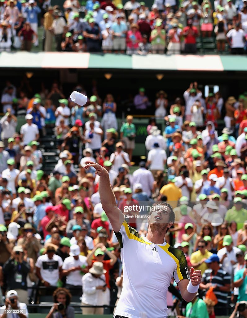 Andy Murray of Great Britain throws his sweat band to the spectators after his three set victory against David Ferrer of Spain during their final match at the Sony Open at Crandon Park Tennis Center on March 31, 2013 in Key Biscayne, Florida.