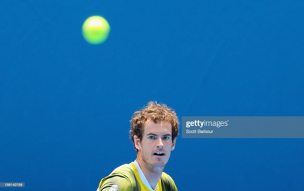<a gi-track='captionPersonalityLinkClicked' href=/galleries/search?phrase=Andy+Murray+-+Tennis+Player&family=editorial&specificpeople=200668 ng-click='$event.stopPropagation()'>Andy Murray</a> of Great Britain watches the ball during a practice session ahead of the 2013 Australian Open at Melbourne Park on January 9, 2013 in Melbourne, Australia.