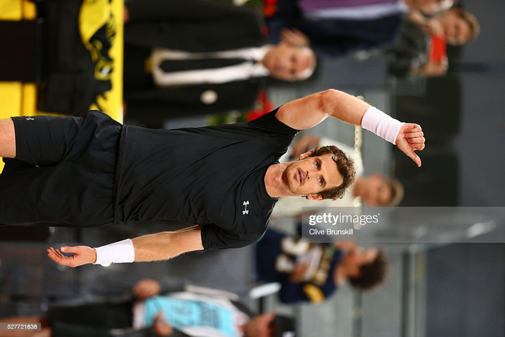 Andy Murray of Great Britain waves to the crowd after his three set victory against Radek Stepanek of the Czech Republic in their second round match during day four of the Mutua Madrid Open tennis tournament at the Caja Magica on May 03, 2016 in Madrid,Spain.