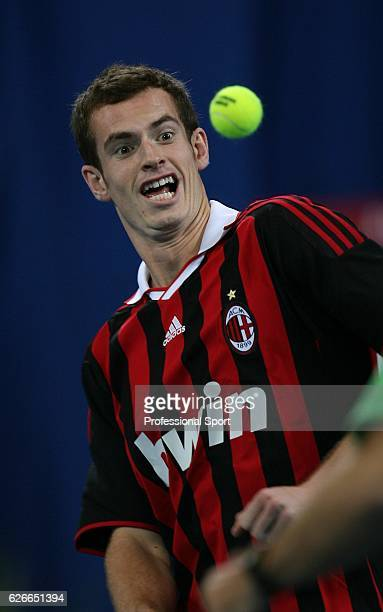 Andy Murray of Great Britain wearing an AC Milan football shirt during a practice session before his first appearance at the Hopman Cup at the...