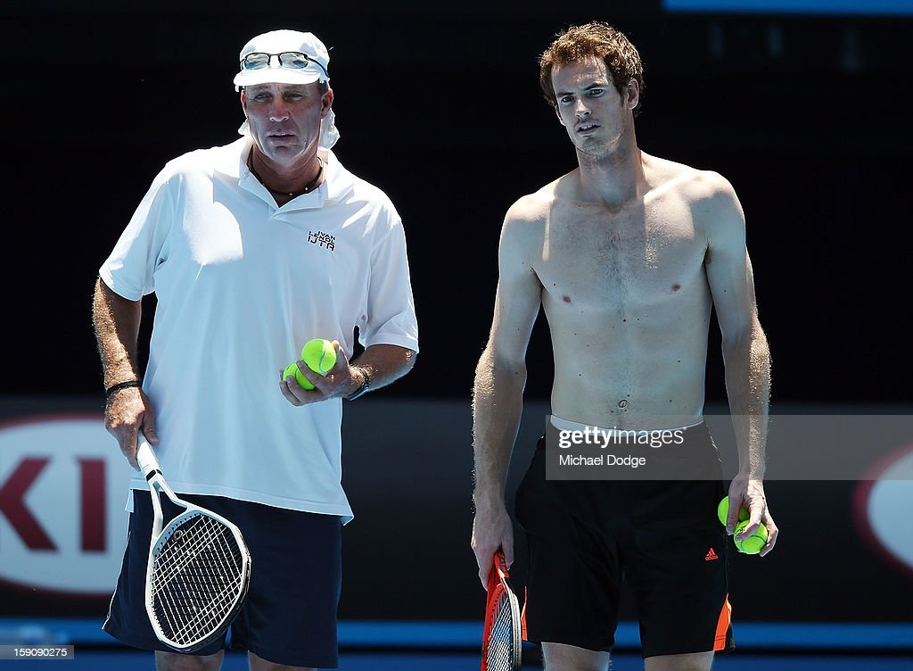 Andy Murray of Great Britain with coach Ivan Lendl (L) during practice ahead of the 2013 Australian Open at Melbourne Park on January 8, 2013 in Melbourne, Australia.