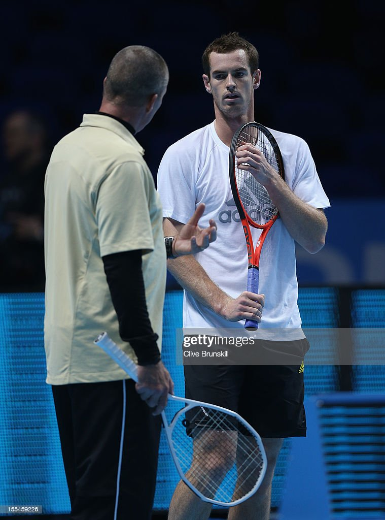 Andy Murray of Great Britain with his coach Ivan Lendl during a practice session prior to the start of ATP World Tour Finals Tennis at the O2 Arena on November 4, 2012 in London, England.