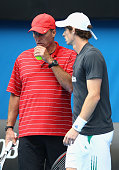 Andy Murray of Great Britain with his coach Ivan Lendl during practice ahead of the 2012 Australian Open at Rod Laver Arena on January 14 2012 in...