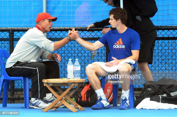 Andy Murray of Great Britain with his new coach Ivan Lendl from the Czech Republic before the start 2012 Australian Open at Melbourne Park on January...