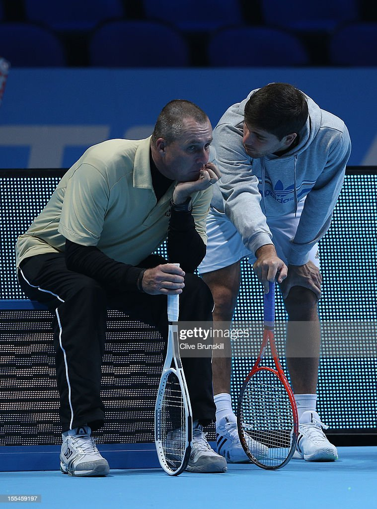 Andy Murray of Great Britain's coach Ivan Lendl and hitting partner Daniel Vallverdu discuss tatics during a practice session prior to the start of ATP World Tour Finals Tennis at the O2 Arena on November 4, 2012 in London, England.