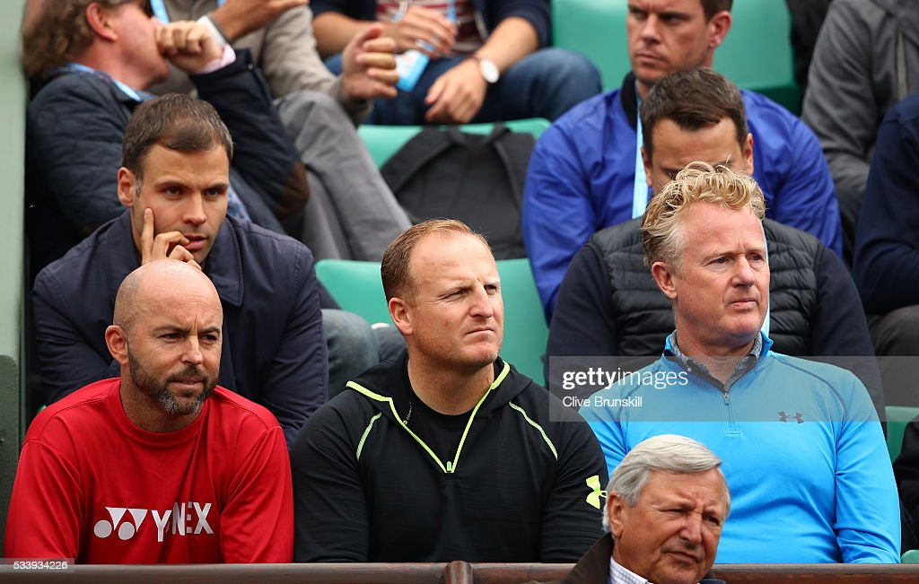 Andy Murray of Great Britain's coaching team of <a gi-track='captionPersonalityLinkClicked' href=/galleries/search?phrase=Jamie+Delgado&family=editorial&specificpeople=235586 ng-click='$event.stopPropagation()'>Jamie Delgado</a>, Matt Little and Mark Bender watch the Men's Singles first round match between Andy Murray of Great Britain and Radek Stepanek of the Czech Republic on day three of the 2016 French Open at Roland Garros on May 24, 2016 in Paris, France.