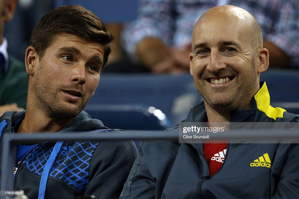 Andy Murray of Great Britain's fitness coach Jez Green and Dani Vallverdu watch his men's singles fourth round match against Denis Istomin of Uzbekistan on Day Nine of the 2013 US Open at USTA Billie Jean King National Tennis Center on September 3, 2013 in the Flushing neighborhood of the Queens borough of New York City.