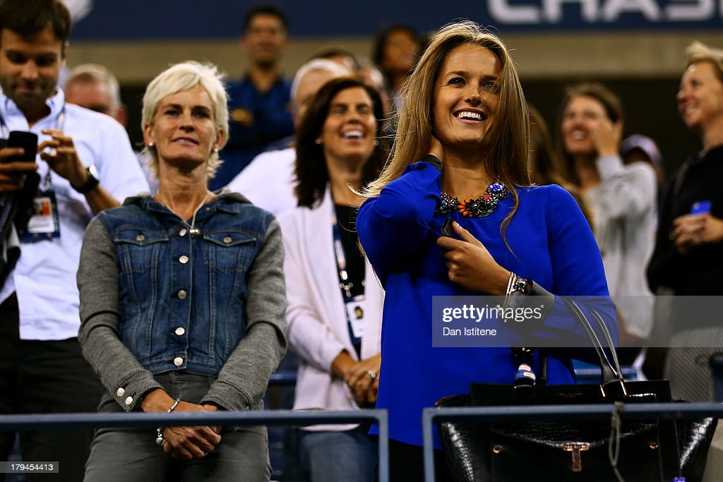 Andy Murray of Great Britain's girlfriend Kim Sears and his mother <a gi-track='captionPersonalityLinkClicked' href=/galleries/search?phrase=Judy+Murray&family=editorial&specificpeople=582324 ng-click='$event.stopPropagation()'>Judy Murray</a> attend his men's singles fourth round match against Denis Istomin of Uzbekistan on Day Nine of the 2013 US Open at USTA Billie Jean King National Tennis Center on September 3, 2013 in the Flushing neighborhood of the Queens borough of New York City.